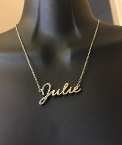 Diamond bling initial name necklace - rhinestonecandystore