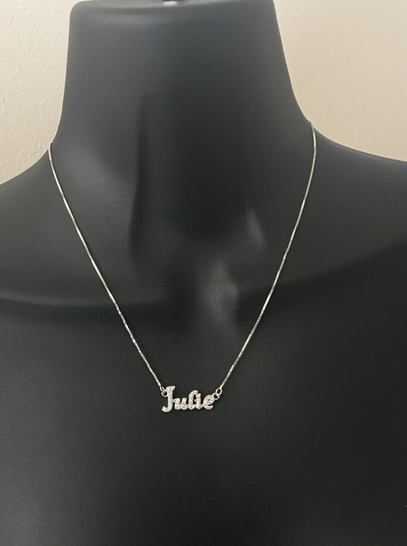 Tiny diamond name necklace - rhinestonecandystore