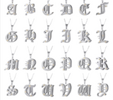 Double nameplate Old English initial necklace - rhinestonecandystore