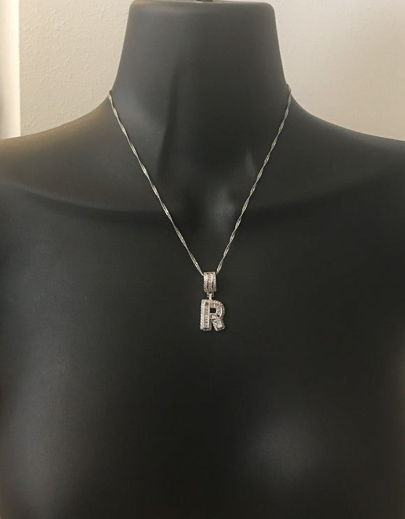 Baguette diamond initial necklace - rhinestonecandystore