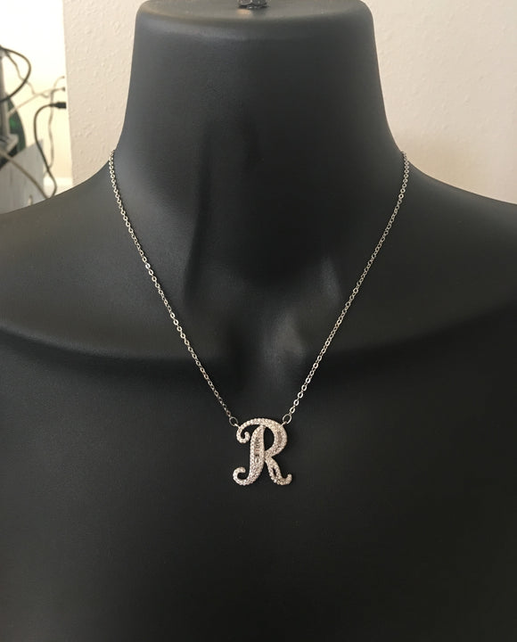Personalized, diamond bling, script initial necklace - rhinestonecandystore