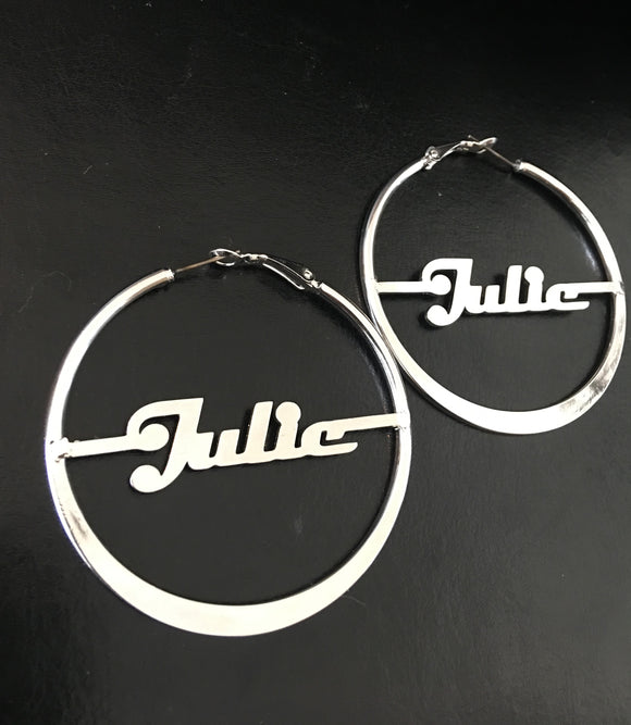 Personalized, 50mm, hoop name earrings - rhinestonecandystore