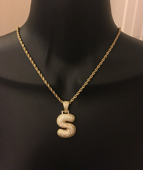 Personalized, diamond bling, bubble letter initial necklace - rhinestonecandystore