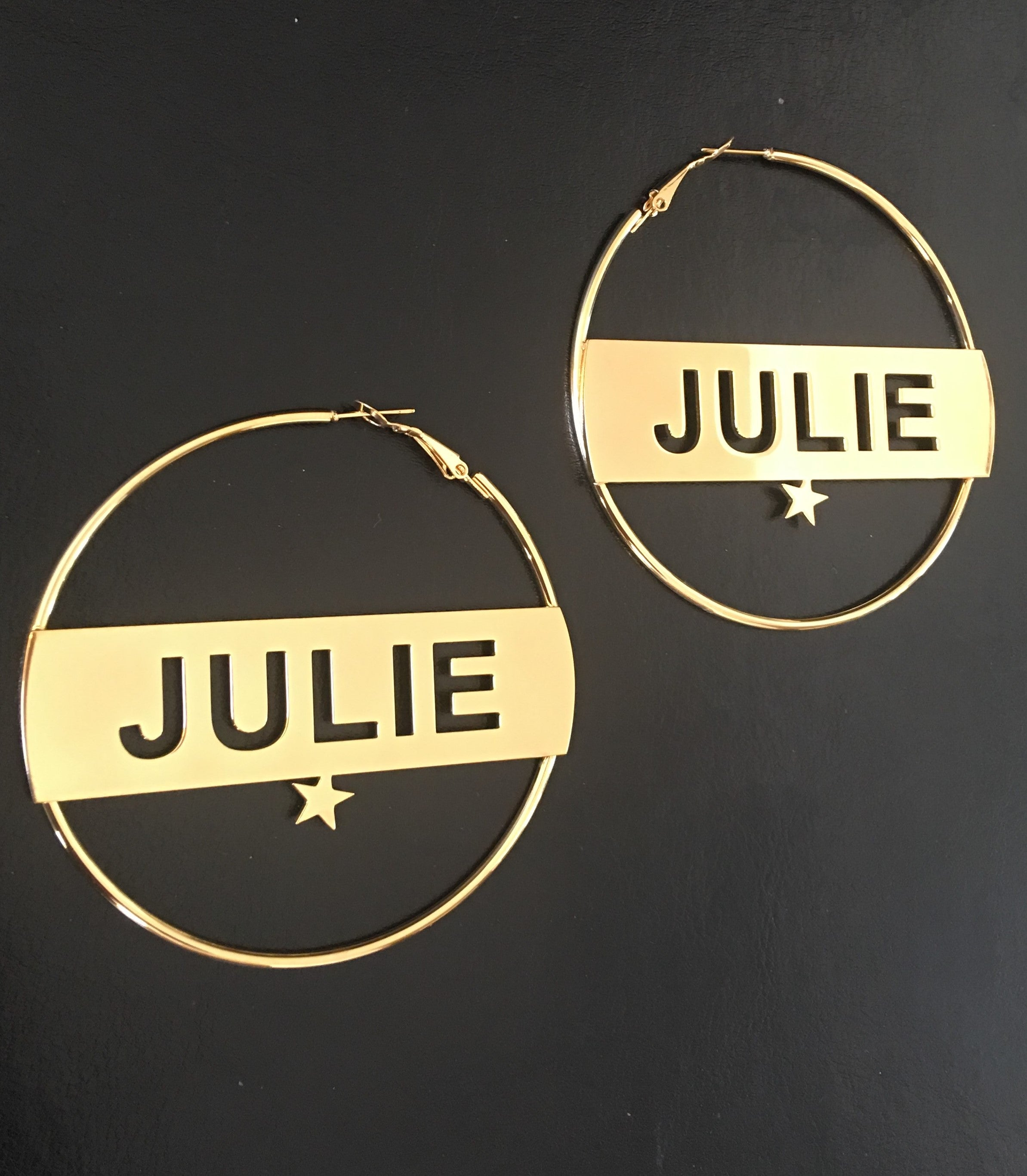 Personalized, 3 inch, star hoop name earrings