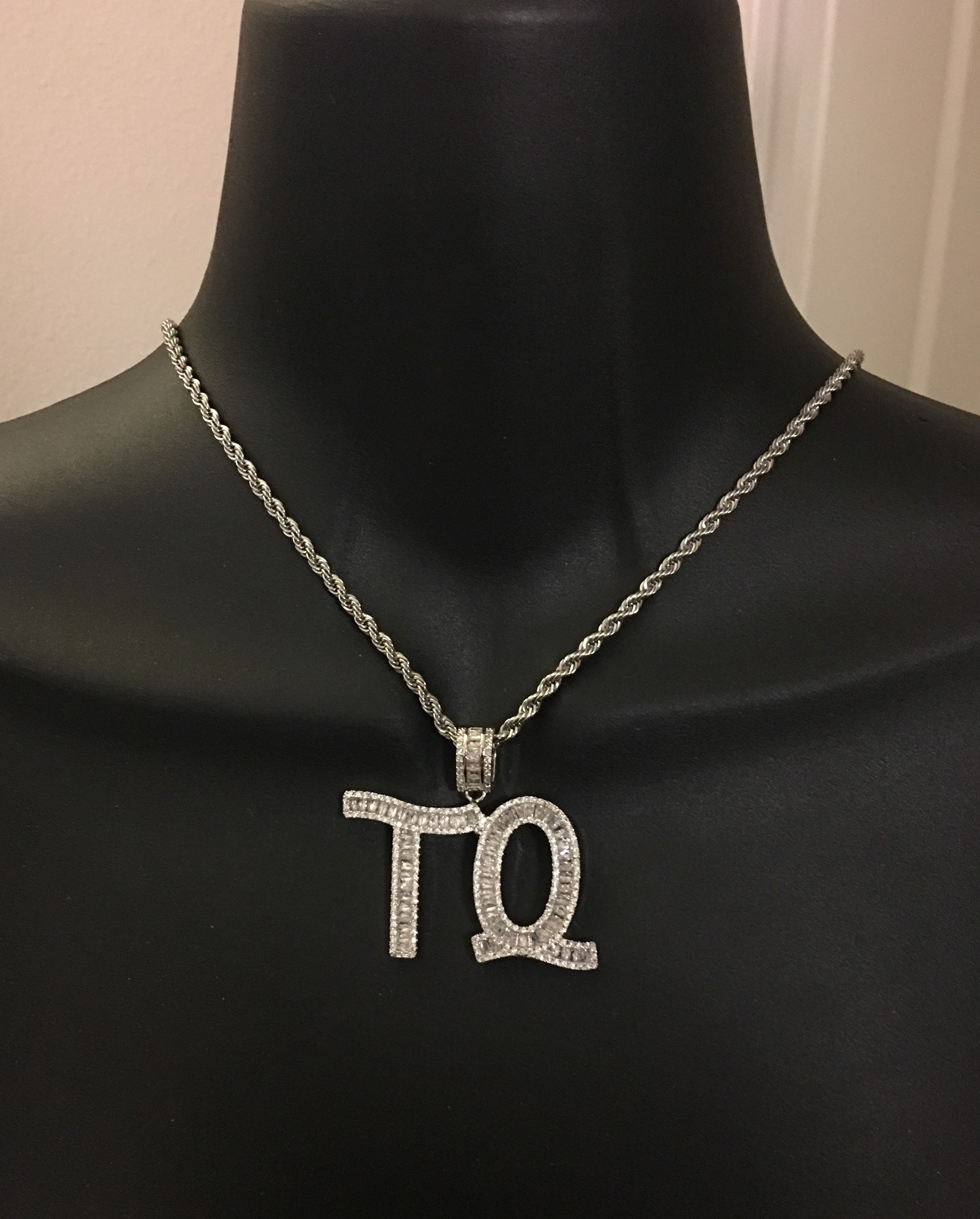 Personalized, diamond bling, initial or name necklace