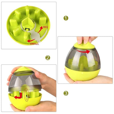 (FALTA) (VAMOS USAR) Interactive Dog Cat Food Treat Ball Bowl Toy Funny Pet Shaking Leakage Food Container Puppy Cat Slow Feed Pet Tumbler Toy 200003723 Super Shop