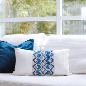 Aegean Mist - Blue and White Embroidered Cushion