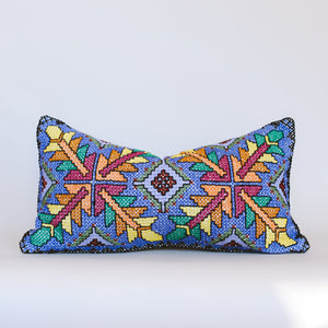 Daphne - Blue, Pink and Orange Embroidered Cushion