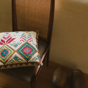 Echo - Ecru Pink Petit Embroidered Cushion