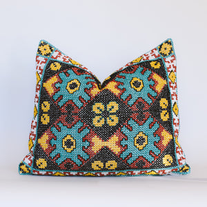 Gaia - Grey and Turquoise Embroidered Cushion
