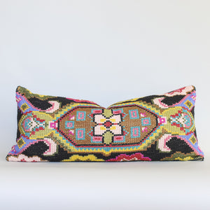 Poppy I - Black and Pink Embroidered Cushion