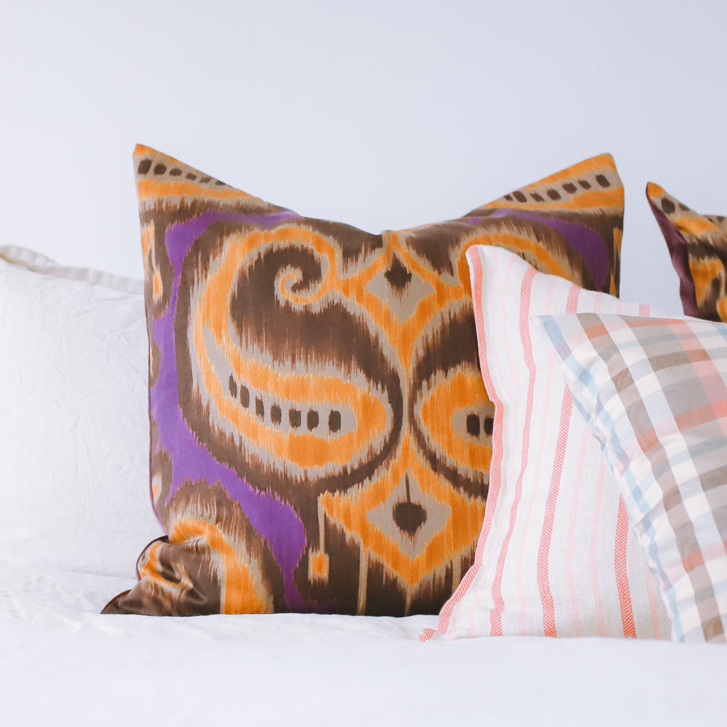 Opiania - Purple and Gold Ikat Cushion