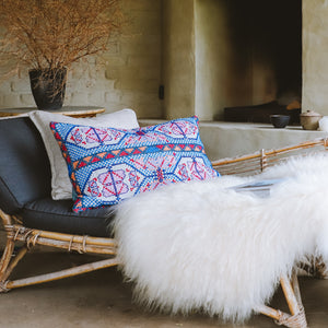 Athina - Blue and Pink Embroidered Cushion