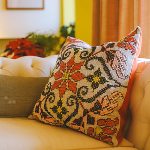 Dryad - Coral and Green Floral Embroidered Cushion