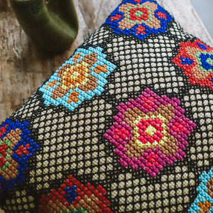 Clio - Pink and Blue Embroidered Cushion
