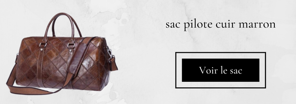 sac aviateur en cuir marron