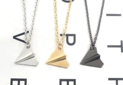 Collier Avion Origami Noir