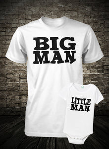 BIG MAN/LITTLE MAN TSHIRT & ONESIE Father/Son Duo T-shirt Set Cedar Hill Country Market