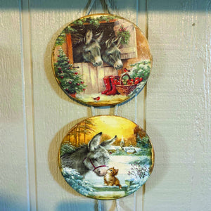 Christmas Holiday Donkey Kitten Winter Scenes Wood Plates Cedar Hill Country Market