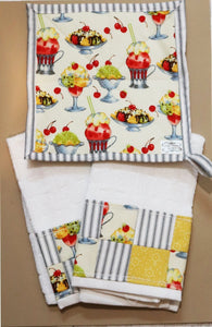 Diners and Drive in Pot Holder and Bar Towel Set Cedar Hill Country Market