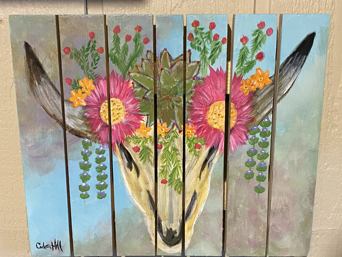 Southwest Cow Skull with Succulents Solid-Faced Canvas Wall Art  Hand Painted CedarHill Country Market