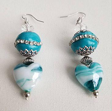 Turquoise Glass Heart Dangles, Silver and Turquoise, Gifts for Her Cedar Hill Country Market