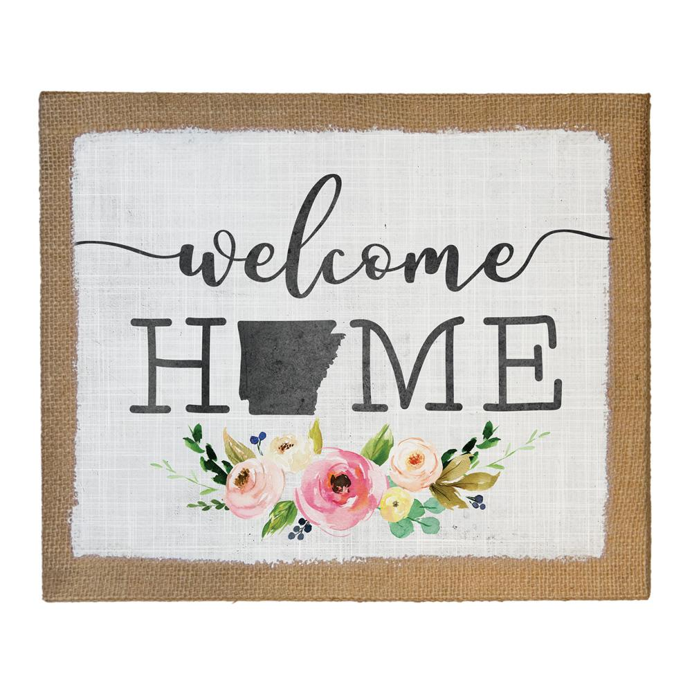 Welcome Home STATE - 16 x 20 - Home Decor Canvas Concepts - Arkansas Cedar Hill Country Market