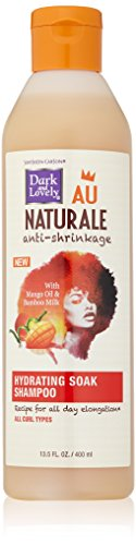 Curly Hair Products by SoftSheen-Carson, Dark and Lovely Au Naturale Anti-Shrinkage Hydrating Soak Shampoo, with Mango Oil and Bamboo Milk, For All Curl Types, No Mineral Oil, No Parabens, 13.5 fl oz