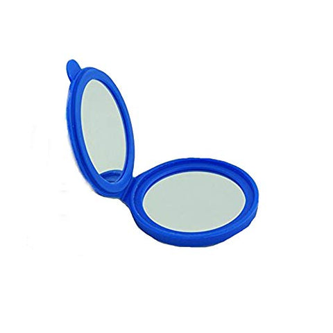 Kolight New Style Silica Gel Mini Cosmetic Portable Fold Pocket Women Girls Makeup Mirrors Double Sides (One Is Normal,another Is Magnifying) (Blue)