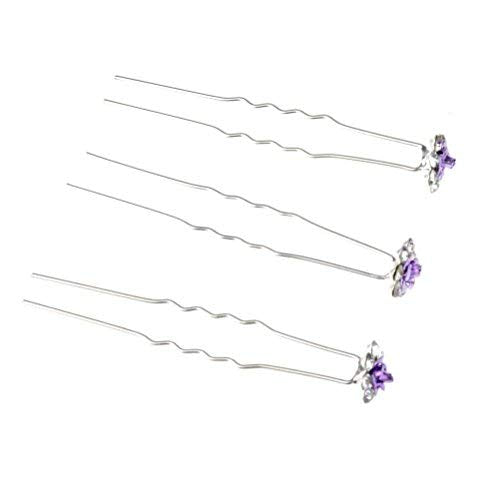 Rbenxia 20 Pcs Bridal Wedding Rhinstone Hair Pins 2.4 Inches Bridal Prom Clips Rose U-shaped Hair Pins for Women and Girls, Purple