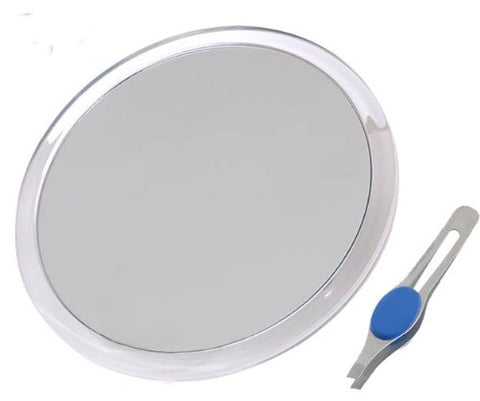 Db Tech Large 8 Inch Suction Cup 10x Magnifying Mirror With Precision Tweezers W/Rubberized Grips, Tr