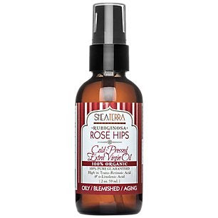 Shea Terra Organics Organic Rubiginosa Rose Hips Cold Pressed Extra Virgin Oil | Acne Treatment, Anti-Aging, Vitamin C Serum | Oily/Blemished/Aging Skin Types - 2 oz