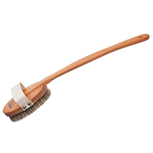 Redecker Wellfit Bath Brush with Removable Steamed Beechwood Handle, Mixed Horsehair and Plant Fiber Bristles, 17-1/2 Inches Long