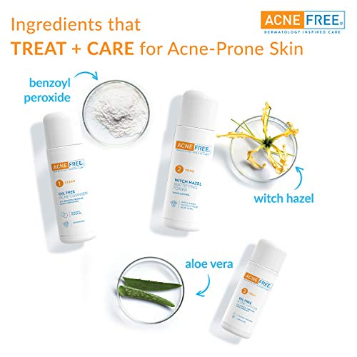 Acne Free 3 Step 24 Hour Acne Treatment Kit   Clearing System W Oil Free Acne Cleanser, Witch Hazel