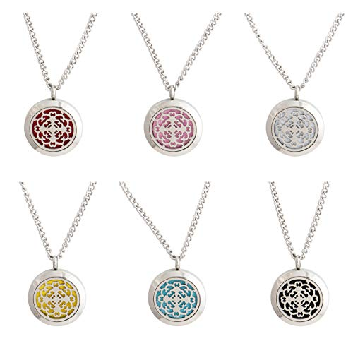 "mEssentials Cross Essential Oil Diffuser Necklace Stainless Steel Locket Pendant with 24"" Chain+ 4 Essential Oils (Lavender, Peppermint, Inner Calm,Zen) Gift Set"