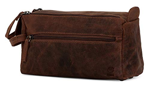 Rustic Town Buffalo Leather Toiletry Bag : Vintage Travel Shaving & Dopp Kit : For Toiletries, Cosme