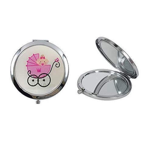 12 Pcs Personalized Compact Mirror Favors Baby Girl Shower Pink/Makeup Purse Mirrors with Organza Bag