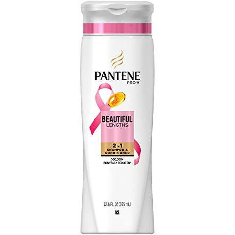 Pantene Shampoo & Conditioner, Strengthening, Beautiful Lengths, 2 in 1 12.6 fz (Pack of 6)