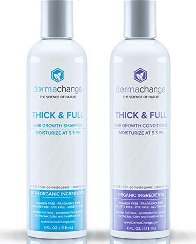 Organic Vegan Hair Growth Shampoo and Conditioner Set - Natural Hair Regrowth with Vitamins - Hair Loss & Thinning Products - Curly or Color Treated Hair - For Men and Women - Sulfate Free (4oz)