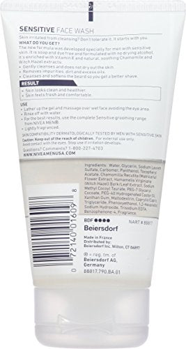 Nivea Men Sensitive Face Wash   Cleanses Without Drying Sensitive Skin   5 Fl. Oz. Bottle