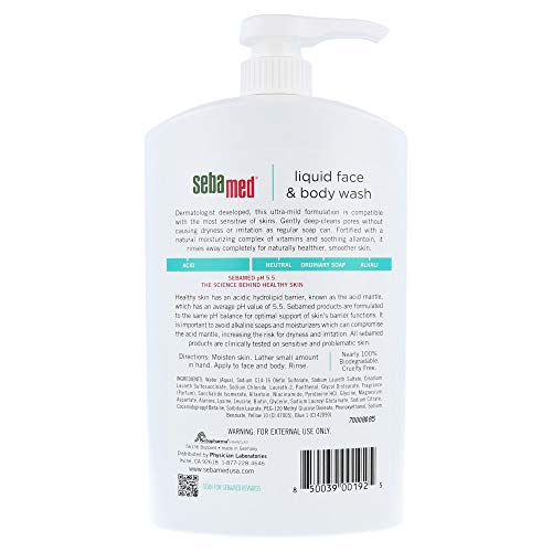 Sebamed Liquid Face and Body Wash, for Sensitive Skin 33.8-Fluid Ounces Bottle