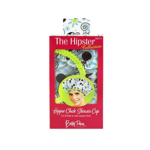 Betty Dain Hipster Collection Mold Resistant Shower Cap, Hippie Chick