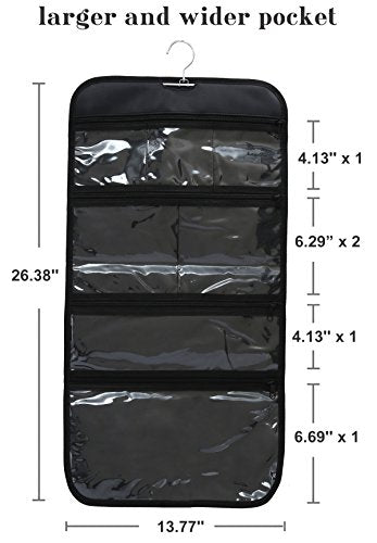 WODISON Foldable Clear Hanging Travel Toiletry Bag Cosmetic Organizer Storage Black