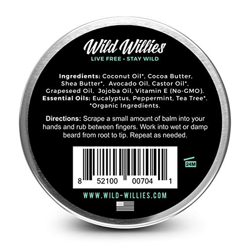 Wild Willie's Beard Butter Cool Mint For Men 2 Pack Amazing Beard Balm With 13 Natural Locally Sourc