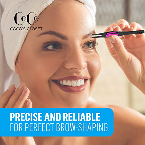 Coco's Closet Tweezers for Eyebrows - Surgical grade Stainless Steel Slant Black Tweezer - Precision for Ingrown Hair Removal