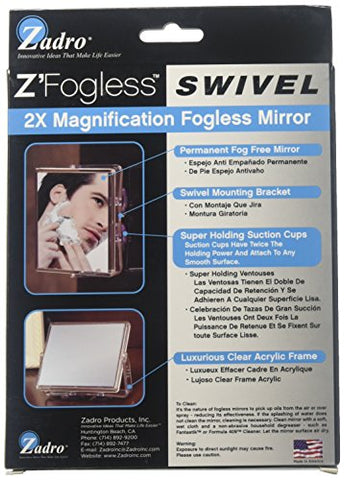 Zadro 2x Mag Z Fogless Swivel Shower Mirror with Dual Suction Cup, 6-Inch