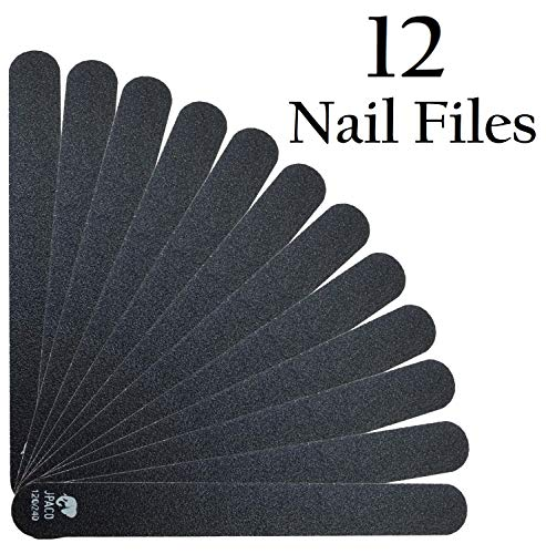 Jpaco 12 Pack Professional Nail Files 120 240 Grit (Black) For Press Ons, Gel, Acrylic, Crystal, Nat