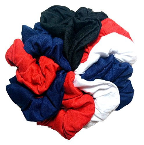 Cotton Scrunchie Set, Set of 10 Soft Cotton Scrunchies (Classic Colors)