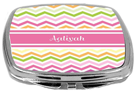Rikki Knight Pink Chevron Name Design Compact Mirror, Aaliyah, 3 Ounce