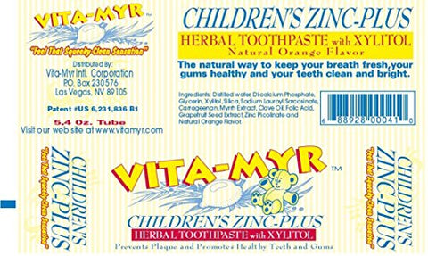 12 Pk VITA-MYR Childrens Xylitol Orange Natural Toothpaste 5.4 Oz - Gluten Free, Vegan, No Sugar, No Fluoride, No Aspartame, No SLS, No Saccharin, with Xylitol & Natural Orange Flavor